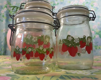 Vintage Ermetico Carlton Glass Jars - Canisters with Locking Wire Bale Hinged Lids