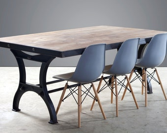 Steel Framed Dining Table on Industrial cast iron legs - 6 seater