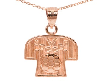 10k Rose Gold Soccer Necklace