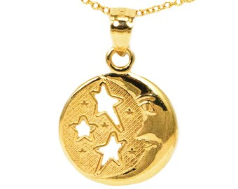 10k Yellow Gold Round Moon and Stars Pendant Necklace