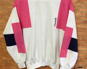 Vintage Canada Multicolour Embroidery  Sweatshirt Pullover Jumper White M