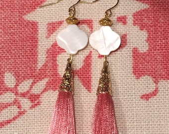 PINK Tassel Earrings - white, gold, blush, mother of pearl, pearl, quatrefoil, trellis, pink and white, pink and gold