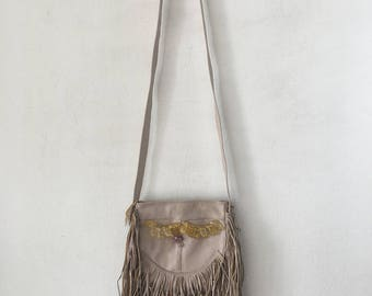 Real handmade crossbody bag from recycling leather with elements of fashionable leather fringe&beads new women's beige color bag size-small.