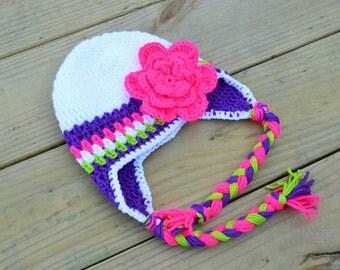 Crochet hat, crochet beanie, Earflap hat, Winter hat, Kids hat, Handmade