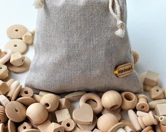 KIT Cuentas de madera natural 150 piezas - Natural Wooden Beads KIT 150 pieces - Unfinished Wooden beads- Cuentas de madera sin tratar