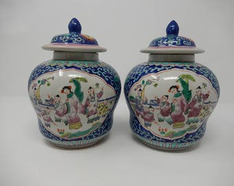 Pair of Potiche China Porcelain Family Rose, Free Shipping
