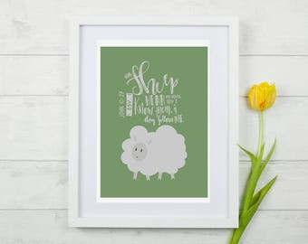 John 10:27   My Sheep Hear My Voice (GREEN)   A6 Wall Art [DIGITAL DOWNLOAD]