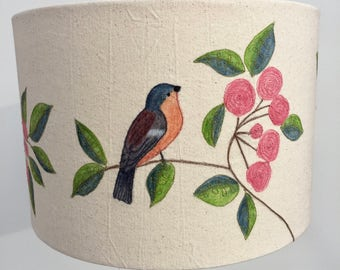 Hand painted and free motion embroidered 'chaffinch and blossom' lampshade - 30cm diameter