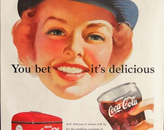 Coca Cola ad. 1952 Coca Cola ad.  1952 Coca Cola and Navy ad.  Coca Cola and Navy WAVE.  Korean War.