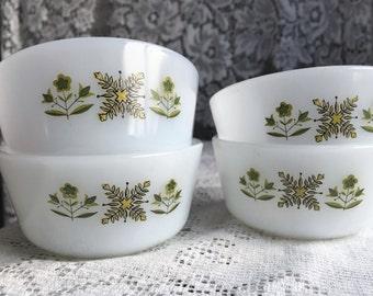Mid Century Fire King Anchor Hocking Milk Glass Set of 4 Ramekins Custard Cups with Avocodo Green Design