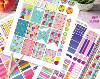 Scandinavian Art Planner Stickers Printable, Art HAPPY PLANNER, Monthly/Weekly Kit, Printable Sampler, Happy planner kit, Instant download