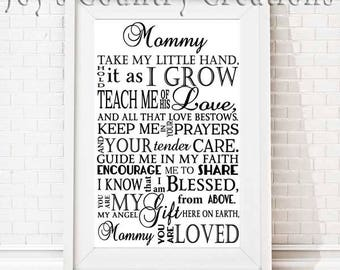 Take my little hand (Includes names, Mommy, Daddy, Godmother, Godfather, Grandmother, Grandfather, SVG, PNG, JPEG