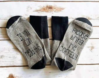 Bring Me Coffee Socks, If You Can Read This, Mothers Day Gift, Gift for Mom, Gift for Her, Coffee Lover, Grandparents Day Gift, Coffee Lover