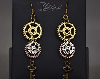 Handmade copper steampunk earrings with gears - Elvira