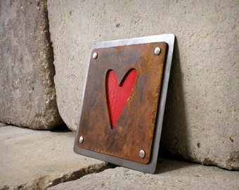 Riveted Heart Plaque