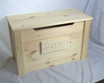 Solid Pine Personalized Wooden Toy Box Natural Child Safe Lid Stay #Medium