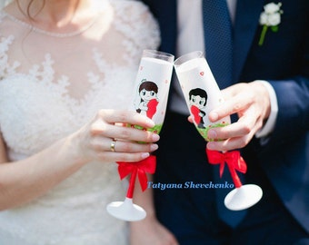 Wedding glasses Love is.. Wedding glasses in red color . The champagne glasses .A wedding gift