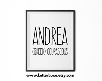 Andrea Name Meaning Art , Printable Baby Shower Gift , Nursery Printable  Art , Digital Print , Nursery Decor , Typography Wall Decor