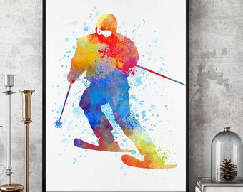 Ski Wall Art, Skiing Poster, Skiers Gift, Watercolor Prints, Sports Decor, Winter Sports Decorations (N022)