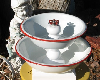 Tiered Enamel Bowl Stand