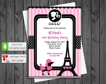 Printable invitation Poddle paris in PDF with Editable Texts, Glamour paris party Invitation, edit and print yourself! - Instant Download!