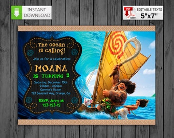 Printable invitation Moana Princess in PDF with Editable Texts, Moana princess party Birthday Invitation, edit and print yourself!