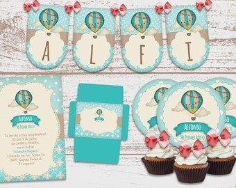 "Luxury printable Kit ""Vintage hot air balloon"" birthday baby. Baptism, Baby Shower. Candy Bar. Customized, ready to print."