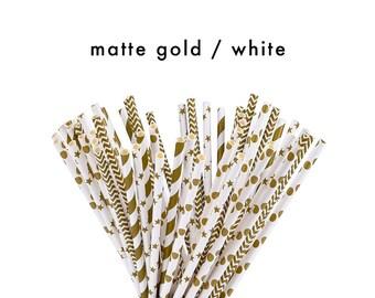 Gold + White Straws | Decorative Straws | Party Straws | Biodegradable Straws | FOLI + LO