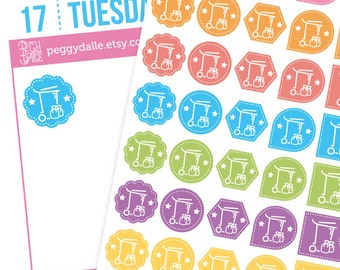 Trash Garbage Bin Assorted Shapes Planner Stickers | Reminders | Chores | Flags | Hexagons