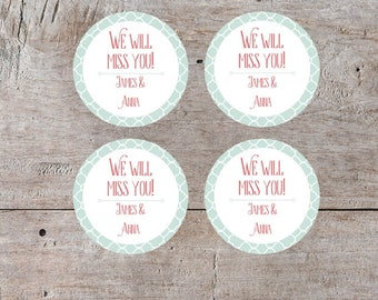 Cupcake Toppers, Mint and Coral, Custom Cupcake, Custom Labels, Personalized Label, Custom Party Printables, Round Labels,Cupcake Decoration