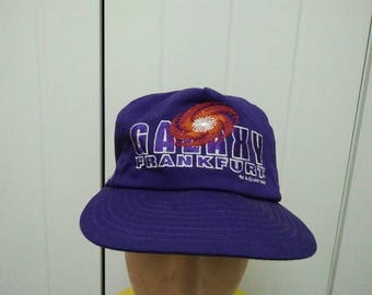 Rare Vintage Copyright 90' GALAXY FRANKFURT World League Embroidered Spell Out Cap Hat Free size fit all