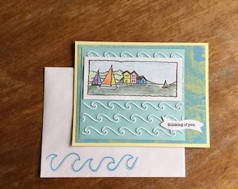 Sailboats and Waves Thinking of You Card