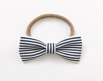 Navy Stripe baby bow headband