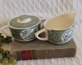 Royal China Company Creamer Pitcher and Sugar Bowl - Green Old Curiosity Shop Pattern
