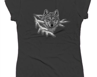 White Wolf In Snow Nature Animal Pup Alpha Pack Forest Wolves Juniors T-shirt SF_0283