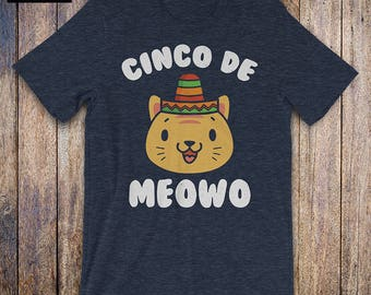 Funny Cinco de Mayo Shirt, Cinco De Meowo Shirt - Meow Shirt, Cat Lover shirt, Cat Lady shirt, Cinco De Drinko, Kitty shirt, Sombrero shirt