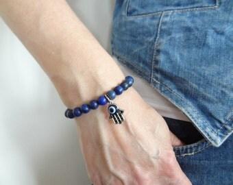 EXPRESS SHIPPING,Dark Blue Bracelet,Lapis Lazuli Bracelet,Hand of Fatima Bracelet, Evil Eye Bracelet,Protection Bracelet,Mother's Day Gifts