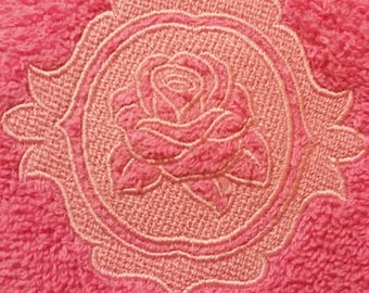 Embossed Rose Hand Towel - Embroidered Rose Towel - Floral Rose Hand Towel - Rose Bathroom Decor - Rose Kitchen Decor - Floral Decor