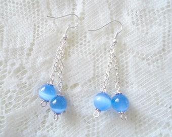 Cat's eye Silver chain dangle earring, Gemstone silver earring, Available in ten colors