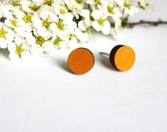 orange stud earrings, circle earrings, round earrings, minimal earrings, orange earrings, simple wooden ear studs,