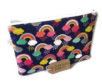 Rainbows Makeup Bag, Pencil Case, Cosmetic Bag, large makeup bag, notions bag