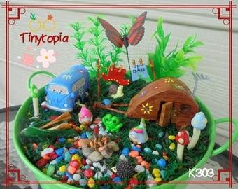 Miniature Hippy Holiday Gnome Garden Kit~Fairy Garden Set~Includes Plants