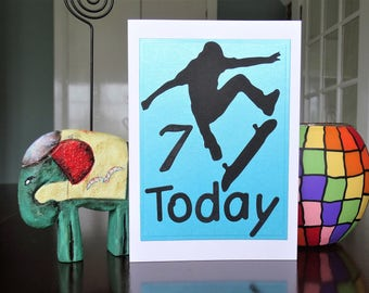 Handmade Greeting Cards - Child's Birthday Card - Skater Boy/Girl - All Ages Available