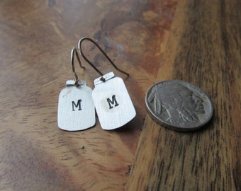 Sterling Mason Jar Initial Earrings