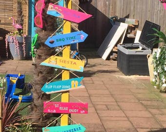 Signposts lawn signs of wood for garden etc