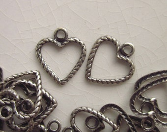 58 Tiny Heart Charms, Oxidized Silver, Braided Heart with Open Center, 8mm