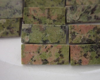 12 Unakite Jasper Cabochons, Olive Greens + Pinks, 17mm x 8mm Angled Rectangle