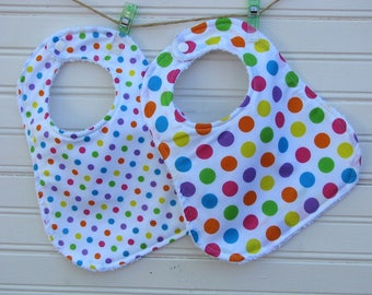 Bibs - Baby Bib - Polka Dots Galore Cotton and Terry Bibs - Bibs - Gener Neutral Shower Gift for Baby Girl or Boy