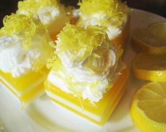 Lemon Cake Soap/ Lemon Soap/Handmade Soap/Homemade Soap/Natural Soap/Castile Soap/Glycerin Soap/Moisturizing Soap/Bar Soap/Guest Soap