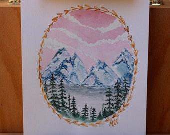 Mountain watercolor landscape 8x10